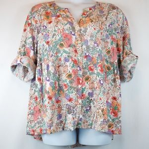JNY Jones New York Blouse Floral Button Down Top